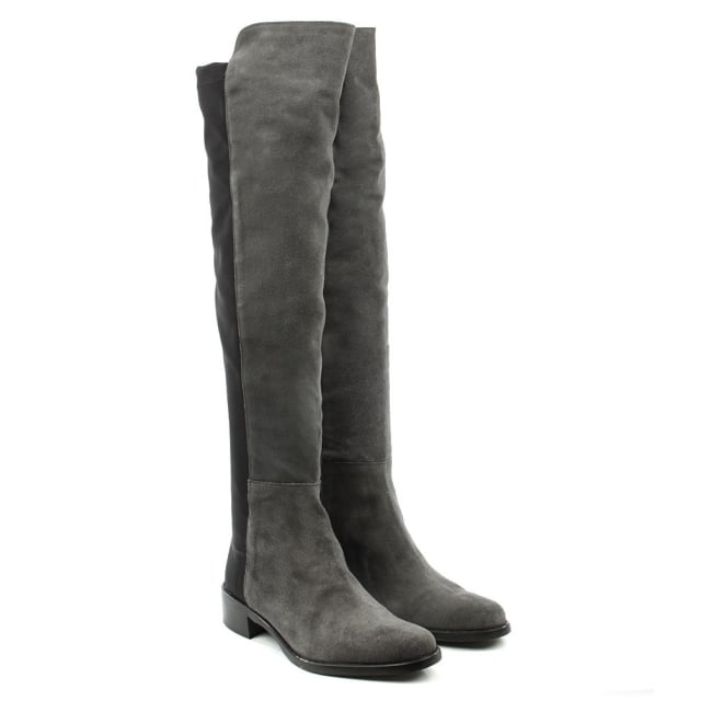 Lamica Grey Suede Over The Knee Boot