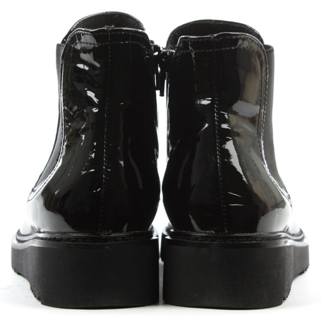 Lamica Black Patent Leather Chelsea Boot