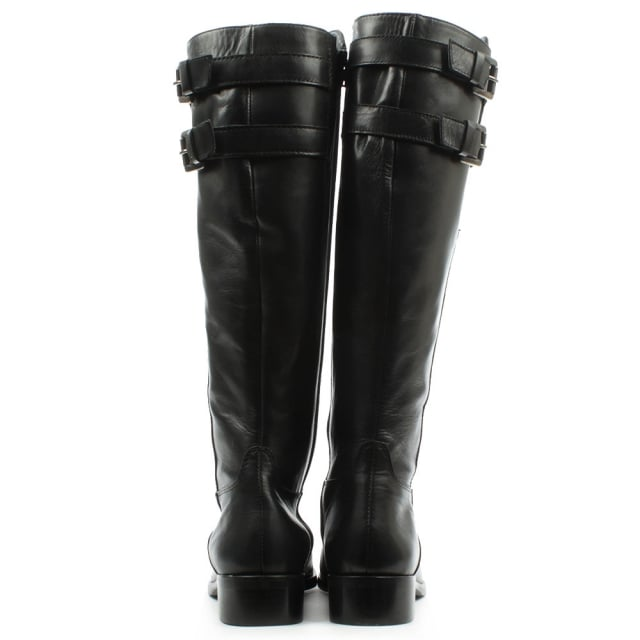 Lamica Black Leather Buckled Knee High Boot