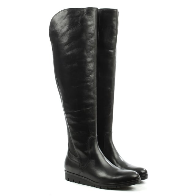 Lamica Black Leather Cleated Knee High Boot