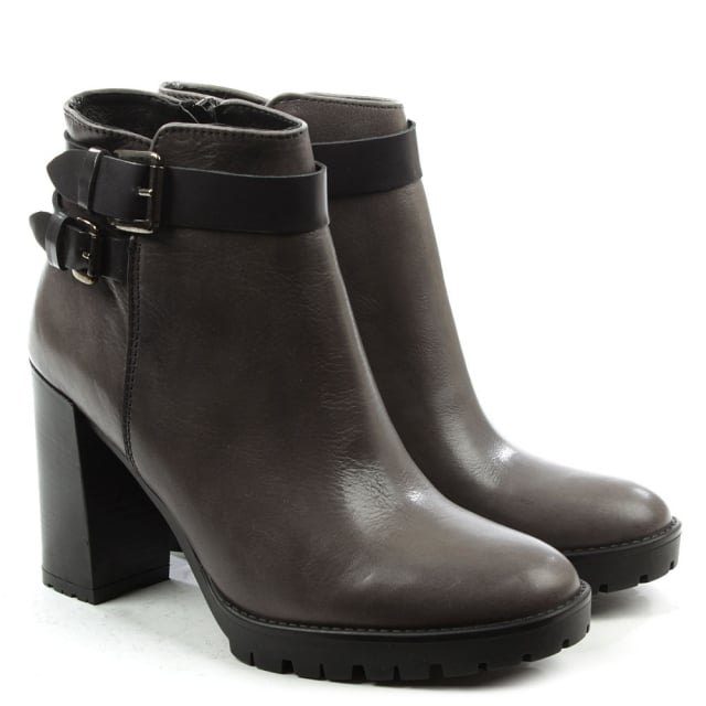 Lamica Grey Leather Buckled Ankle Boot