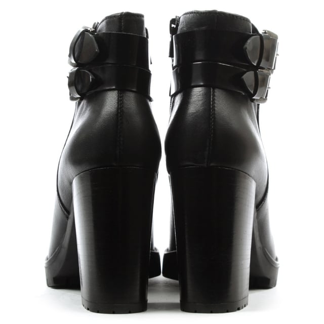 Lamica Black Leather Buckled Ankle Boot