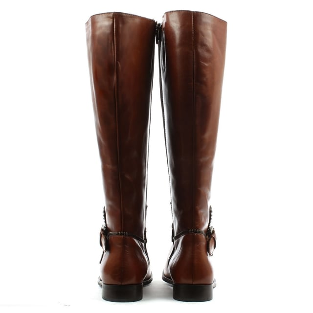 Lamica Tan Leather Zip & Buckle Knee High Boot