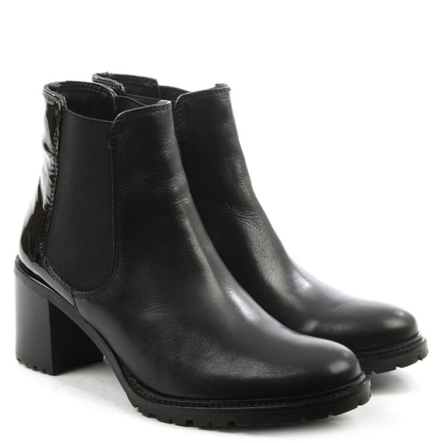 Lamica Black Leather Patent Back Chelsea Boot
