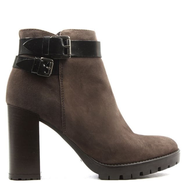 Lamica Brown Suede Buckled Ankle Boot