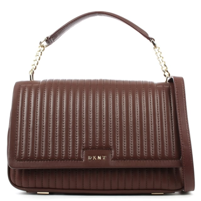 DKNY Gansevoort Oxblood Leather Pinstripe Shoulder Bag