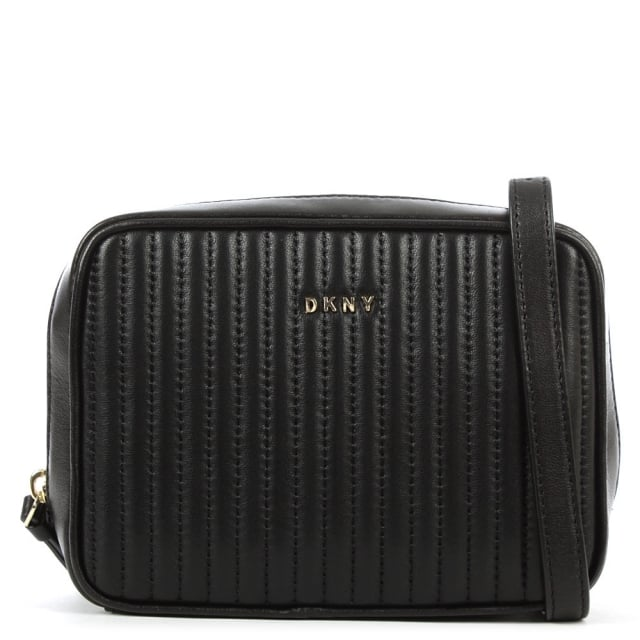 DKNY Gansevoort Black Leather Pinstripe Square Crossbody
