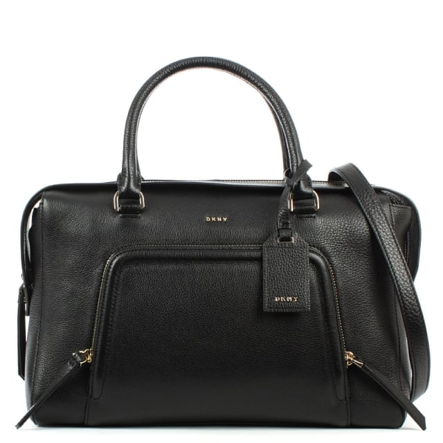 DKNY Chelsea Black Leather Zipped Large Satchel
