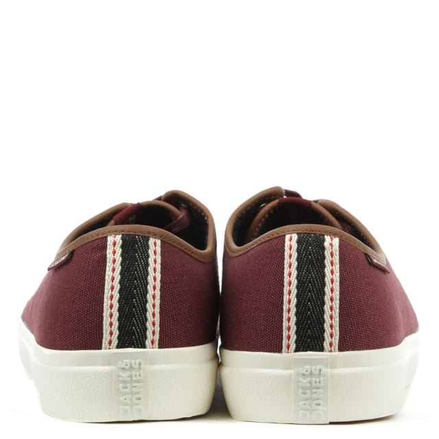 Jack & Jones Turbo Burgundy Canvas Lace Up Sneaker