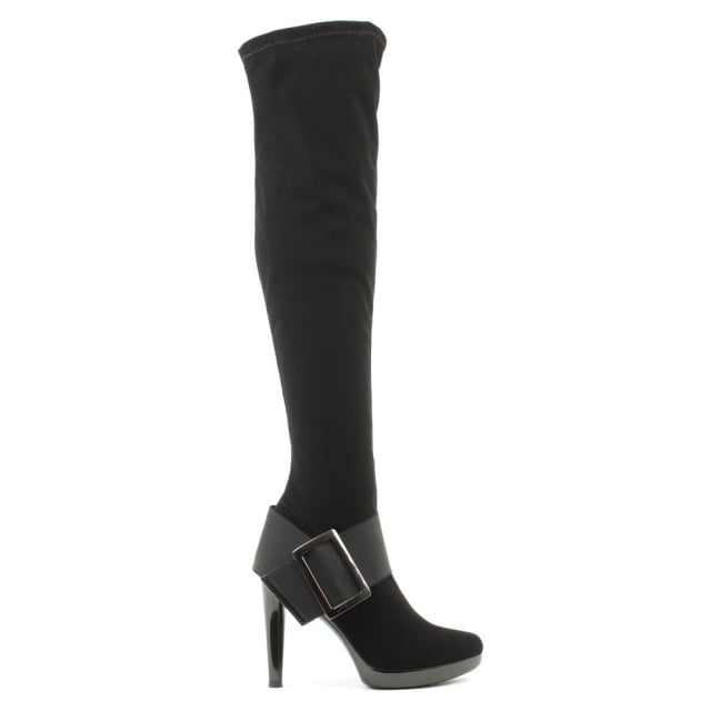 Daniel Romance Black Over The Knee Stretch Boot