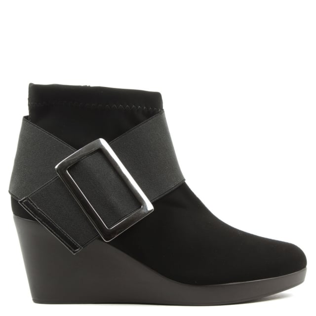 Daniel Rosetta Black Wedge Ankle Boot