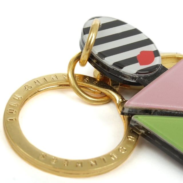 Lulu Guinness Perspex Multicoloured Striped Girl Key Ring