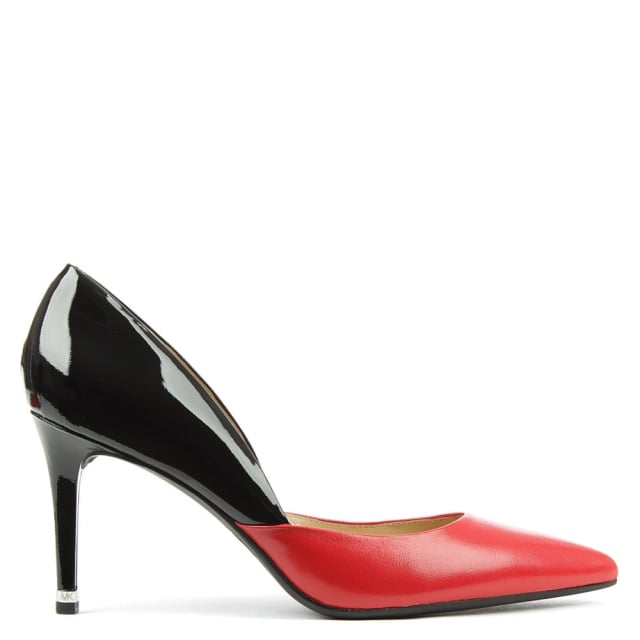 Michael Kors Ashby Red Leather Two Tone Mid Pump