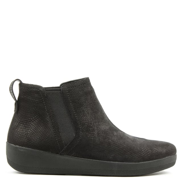 FitFlop Superchelsea Snake Embossed Black Leather Chelsea Boot
