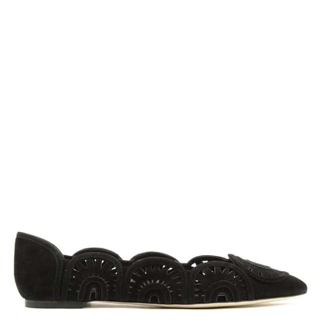 Tory Burch Leyla Black Suede Cut Out Ballerina Flat