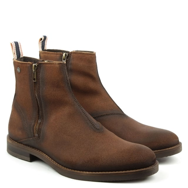 Jack & Jones Zippy Brown Leather Waxed Ankle Boot