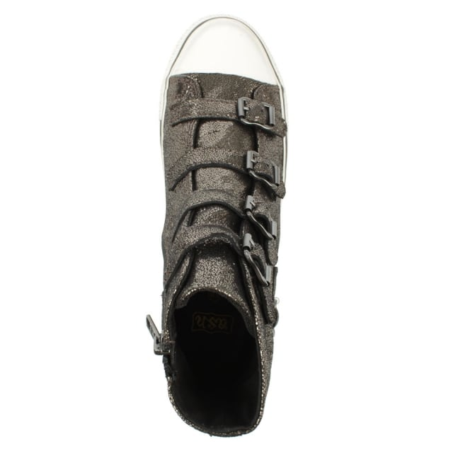 Ash Virgin Bis Black Metallic Leather Womens Trainer