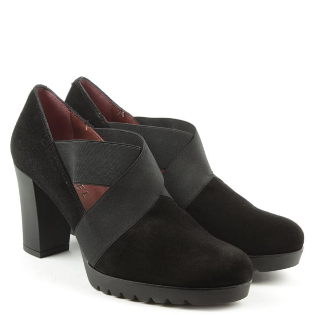Daniel Janie Black Suede Cross Elastic Block Heel Shoe