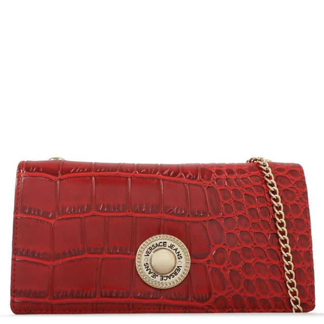 Versace Jeans Brooklyn Red Reptile Chain Purse