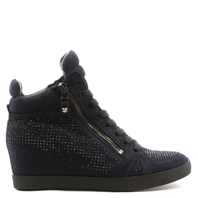 Kennel & Schmenger Marlowe Navy Suede Diamante Low Wedge Trainer