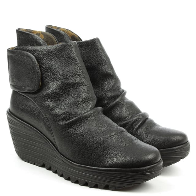 Fly London Yegi Black Leather Rouched Velcro Strap Wedge Ankle Boot