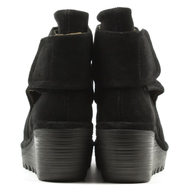 Fly London Yegi Black Suede Rouched Velcro Strap Wedge Ankle Boot