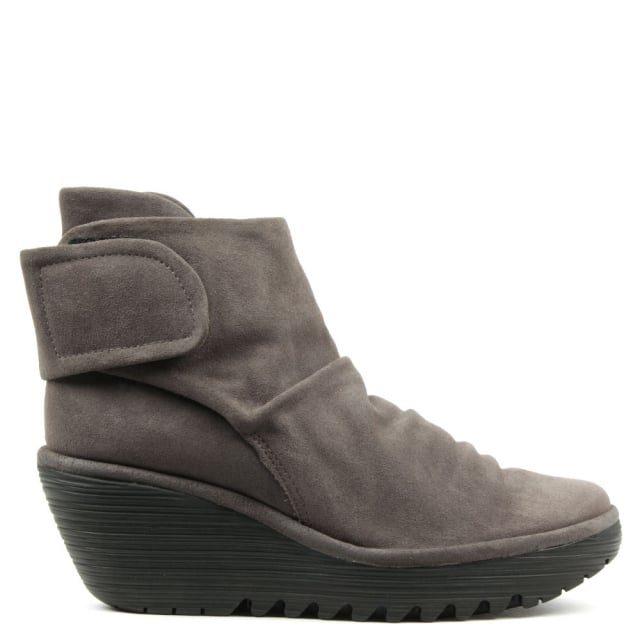Fly London Yegi Grey Suede Rouched Velcro Strap Wedge Ankle Boot