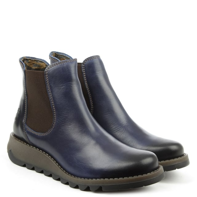 Fly London Salv Blue Leather Low Wedge Chelsea Boot