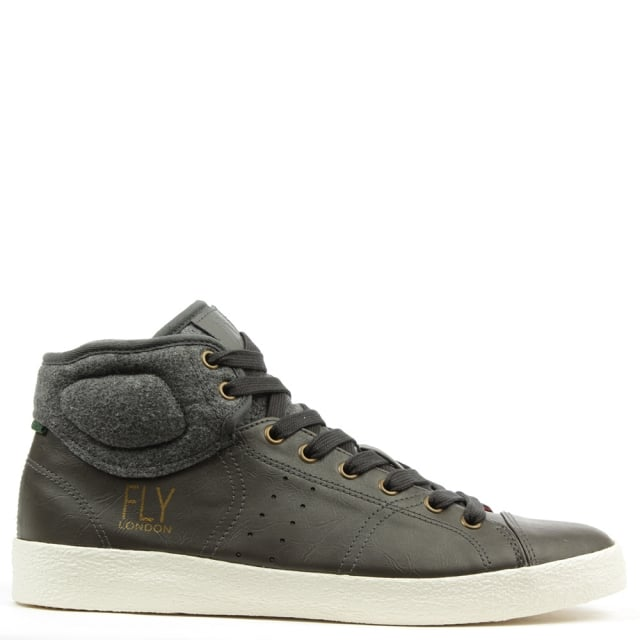 Fly London Balk Grey Leather Lace Up High Top Trainer