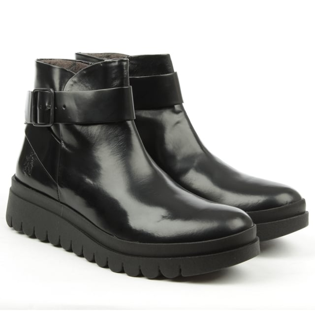 Fly London Halp Black Leather Buckle Wedge Ankle Boot