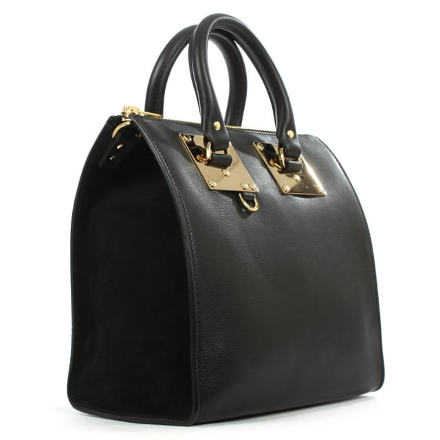Sophie Hulme Holmes Medium Black Suede & Leather Tote Bag