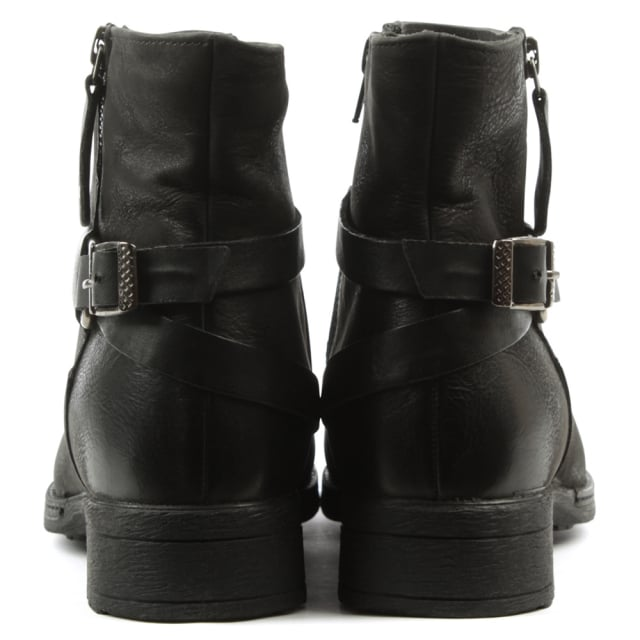 Manas Black Leather Buckled Ankle Boot