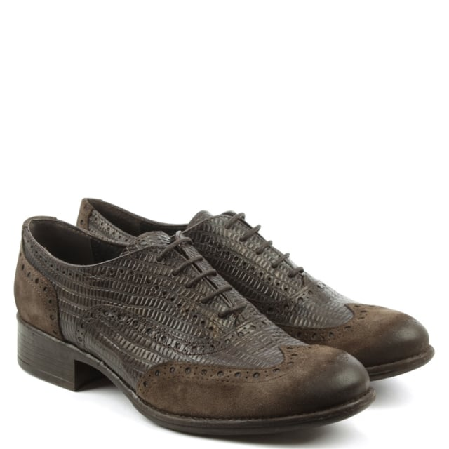 Manas Brown Leather Lace Up Brogue Shoe