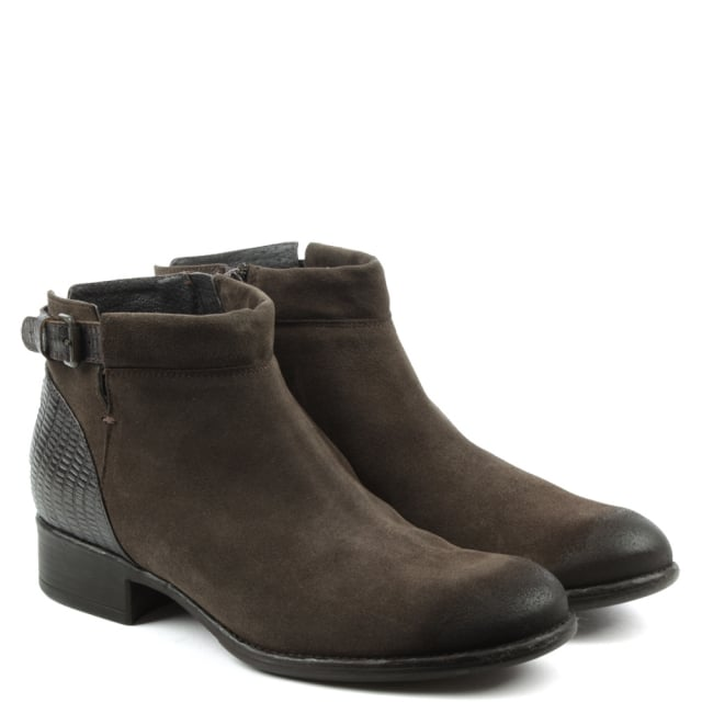 Manas Brown Suede Low Heel Buckled Ankle Boot
