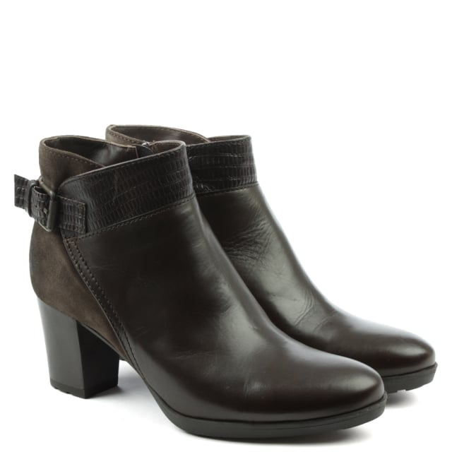 Manas Brown Leather Low Platform Buckled Ankle Boot