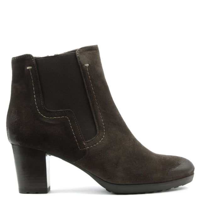 Brown Leather Low Platform Ankle Boot