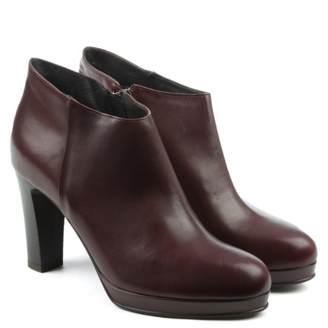 Manas Burgundy Leather Asymmetric Top Block Heel Ankle Boot