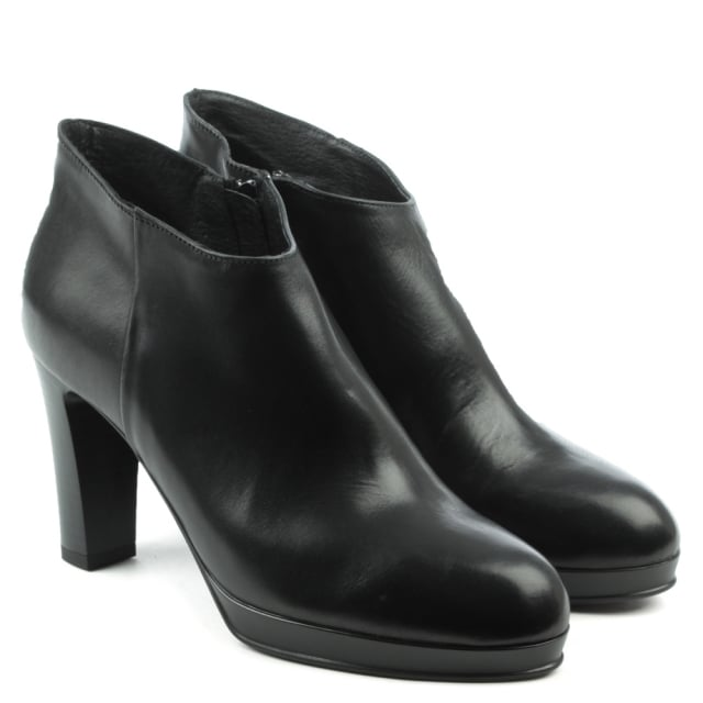 Manas Black Leather Asymmetric Top Block Heel Ankle Boot