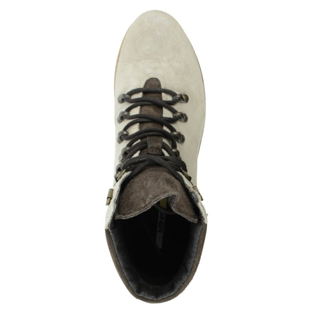 Manas Brown Leather Contrast Lace Up Walking Boot