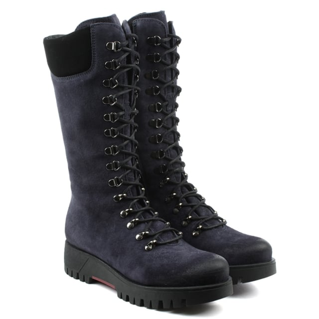 Manas Navy Leather Lace Up Knee High Walking Boot