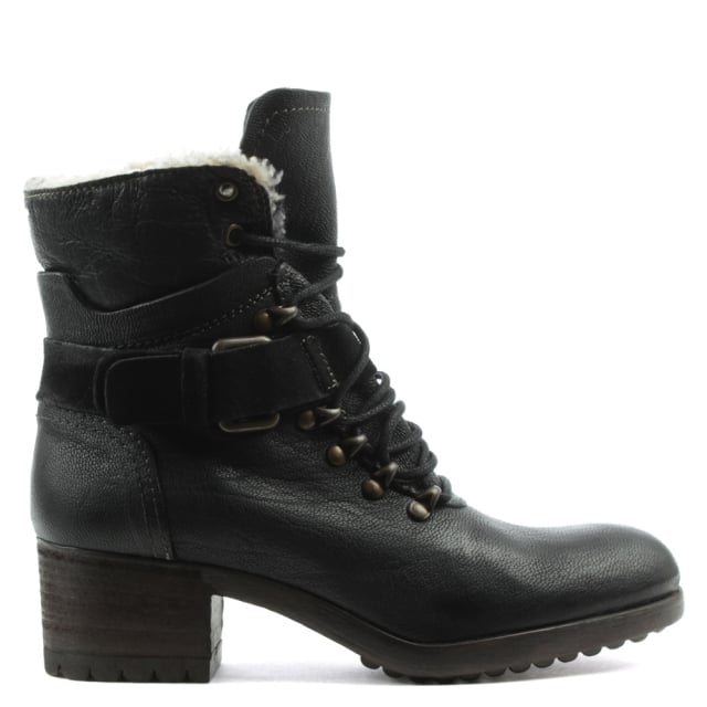 Black Leather Block Heel Walking Boot