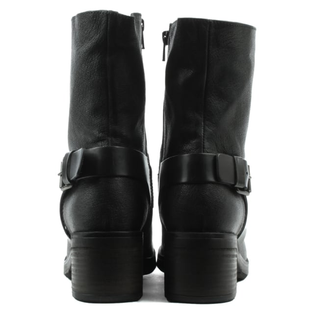 Black Leather Chunky Biker Boot