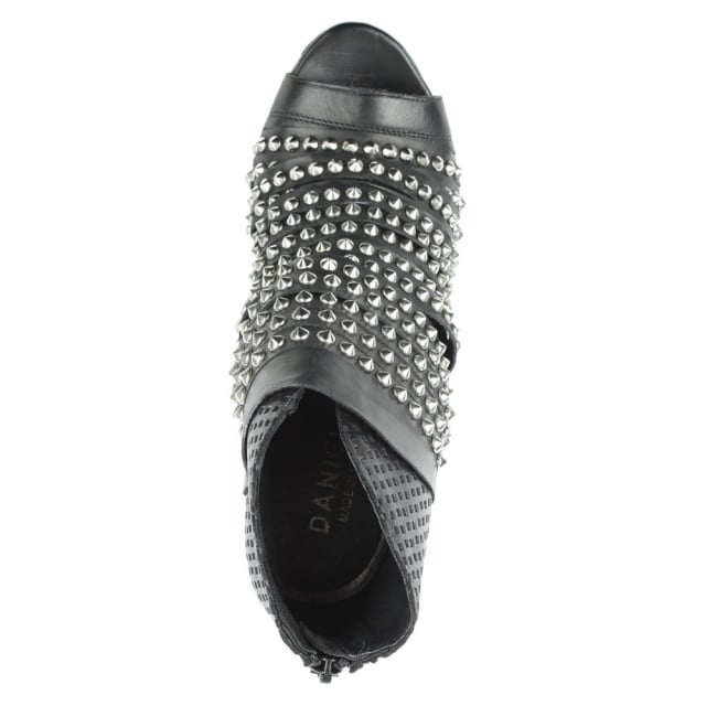 Daniel Westley Black Leather Studded Peep Toe Boot