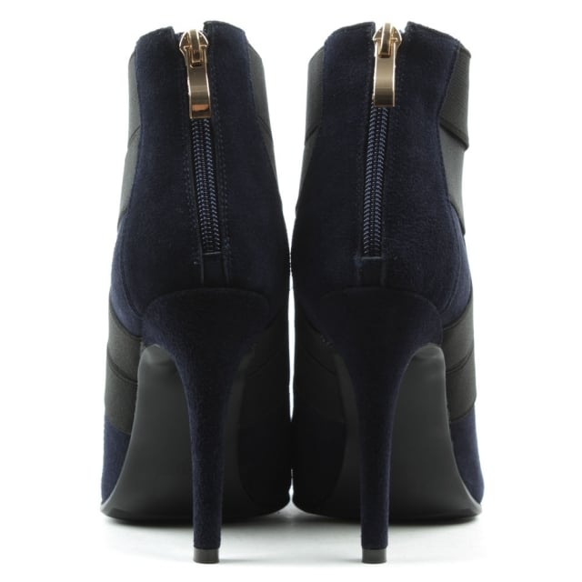 DF By Daniel Gatacombe Navy Suede High Strapped Ankle Boot