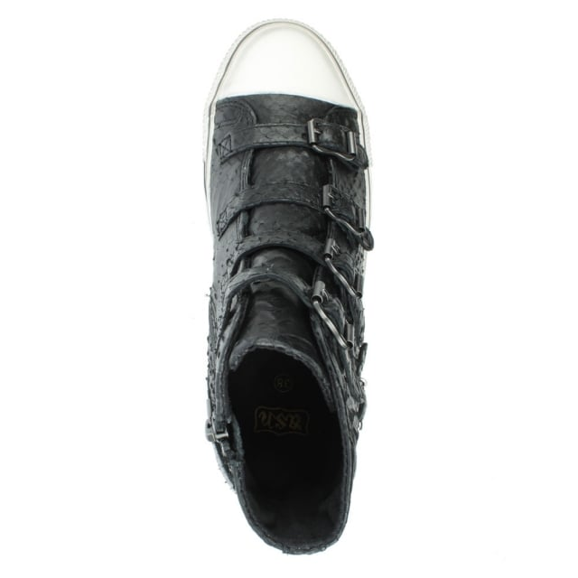 Ash Virgin Bis Black Reptile Leather High Top Trainer