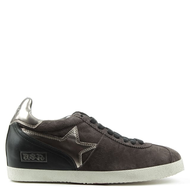 Ash Guepard Bis Bistro Suede Low Wedge Lace Up Trainer