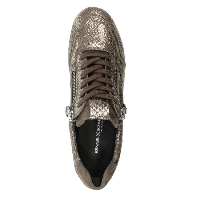 Kennel & Schmenger Slab Grey Suede Reptile Lace Up Trainer