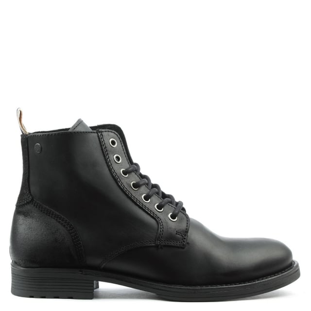 Jack & Jones Sting Black Leather Lace Up Ankle Boot
