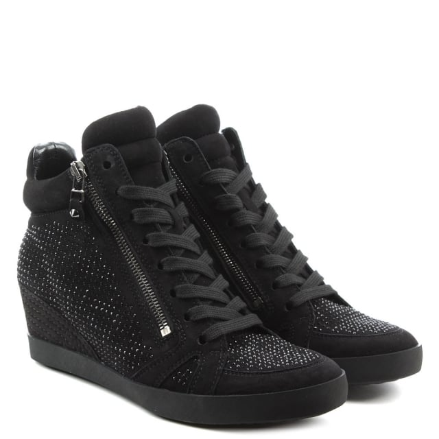 Kennel & Schmenger Marlowe Black Suede Diamante Low Wedge Trainer