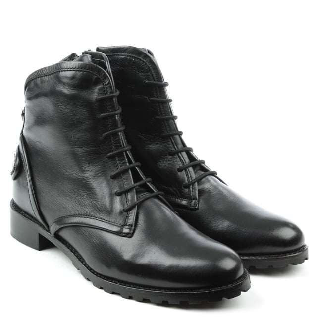 DF By Daniel Ambleside Black Leather Chunky Lace Up Ankle Boot
